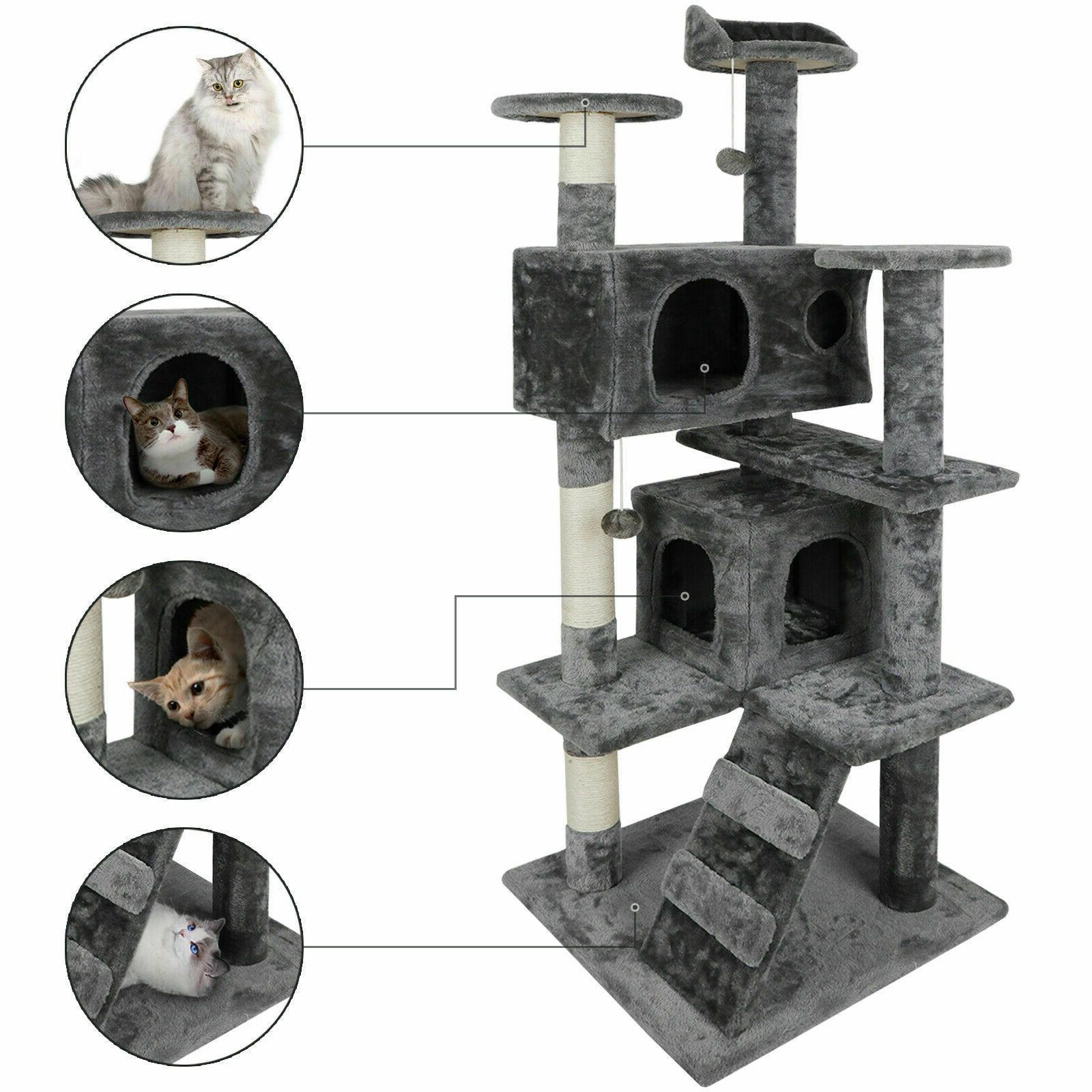 53 cat tree scratching condo kitten activity