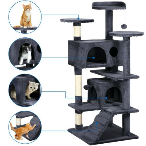 53'' Cat Tree Tower Condo Furniture Scratching Post Pet