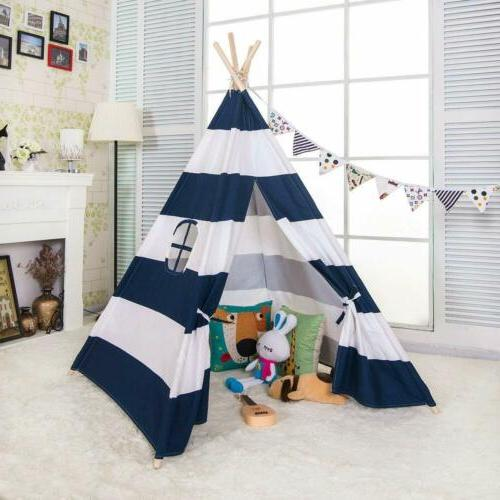 6' Indian Teepee Kids Sleeping Dome Portable Carry Bag Blue