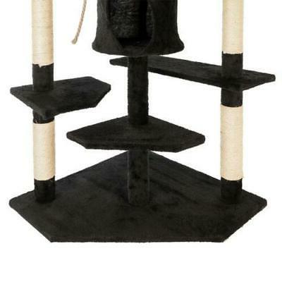 "80"" Cat Pet Play House Condo Furniture Scratch Toy Black"