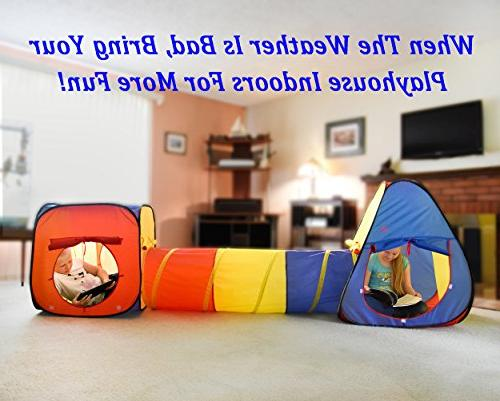 Kiddey 3pc Play Tent Crawl Tunnel and Ball Pit Set Durable Pop Up Playhouse Tent Babies, Pets – for Outdoor Use, with Carrying Case, -Great