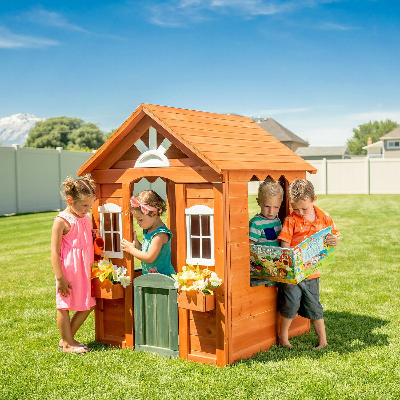 Kids Wooden Playhouse w/ Windows Door Cedar Wood Toddler Chi