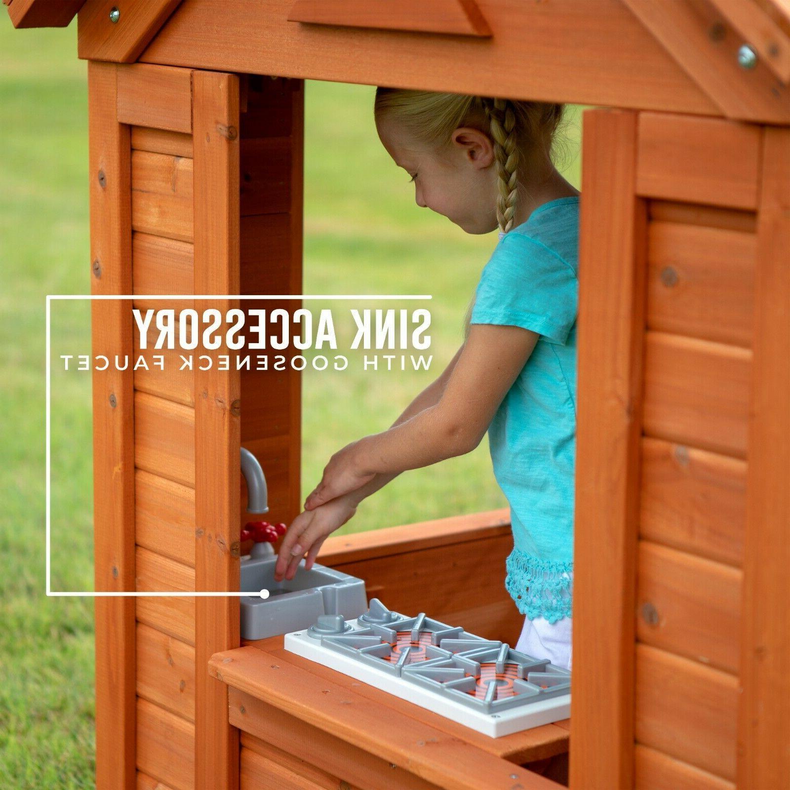 Backyard Outdoor Playhouse Windows Garden Girls Boys Play
