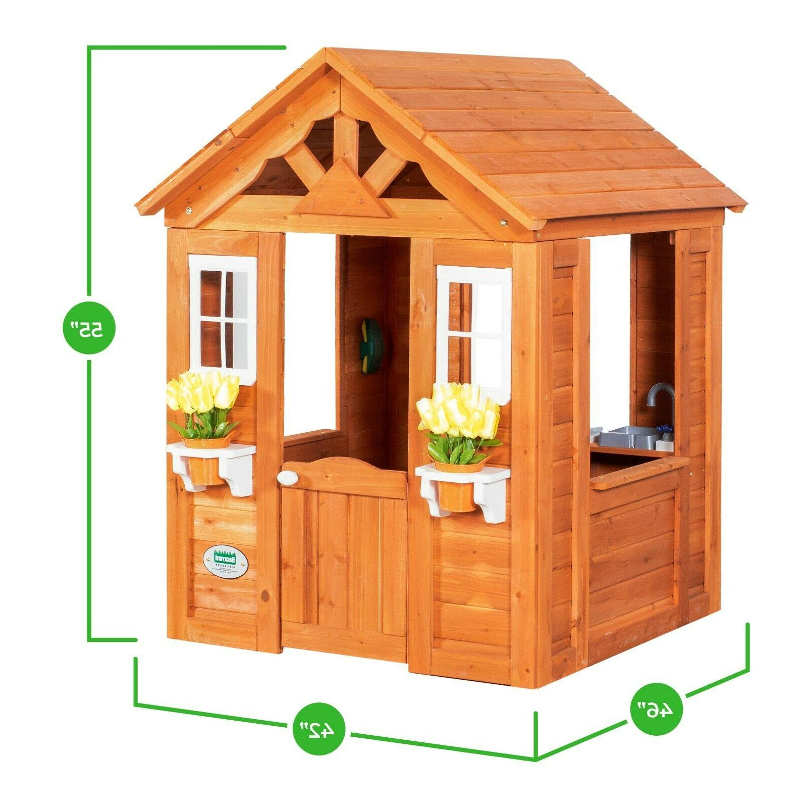 Backyard Playhouse Outdoor House Cottage Kids