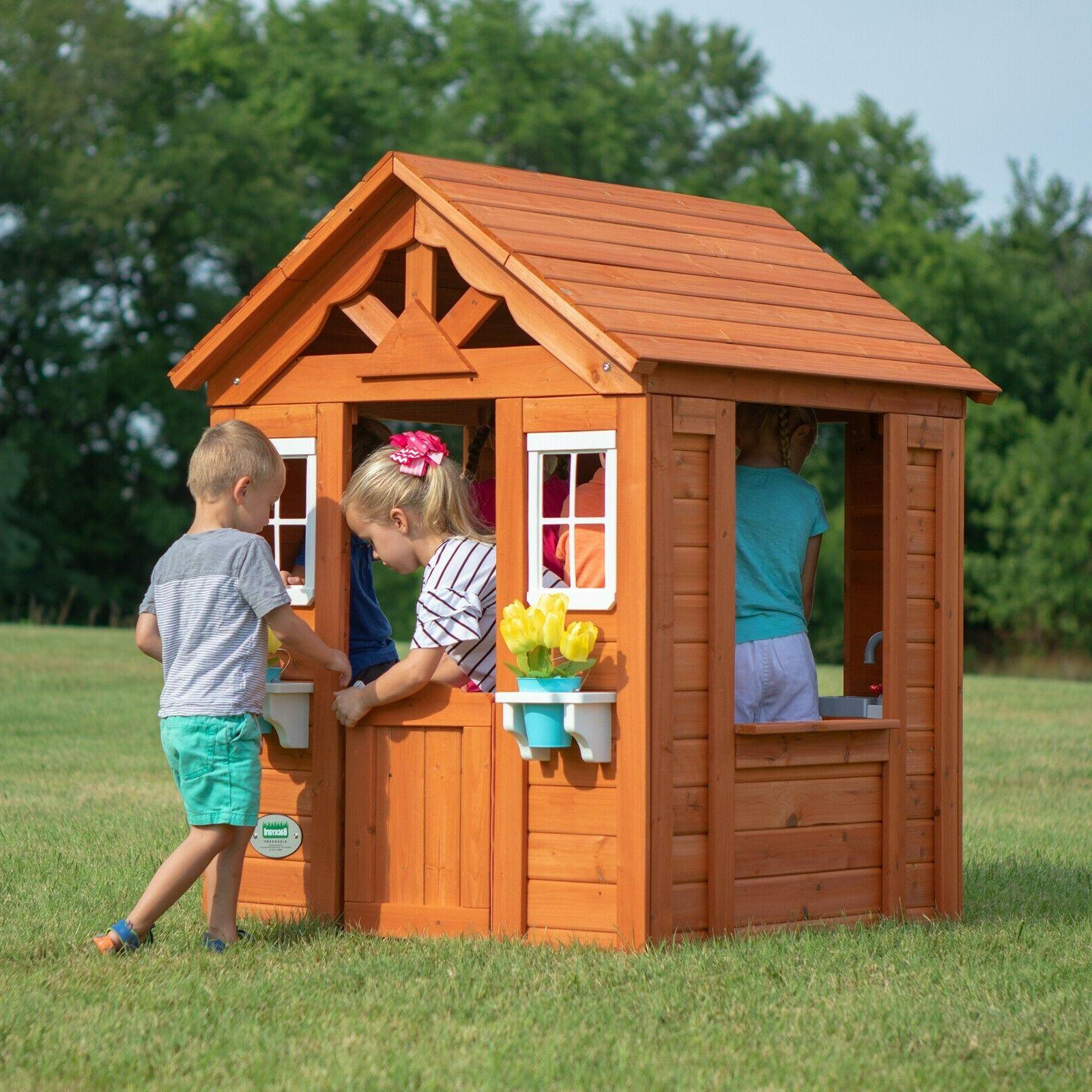 backyard playhouse wooden outdoor house playset cottage