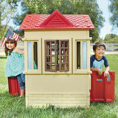 Cape Cottage Indoor Outdoor Portable Plastic Toy House Tan