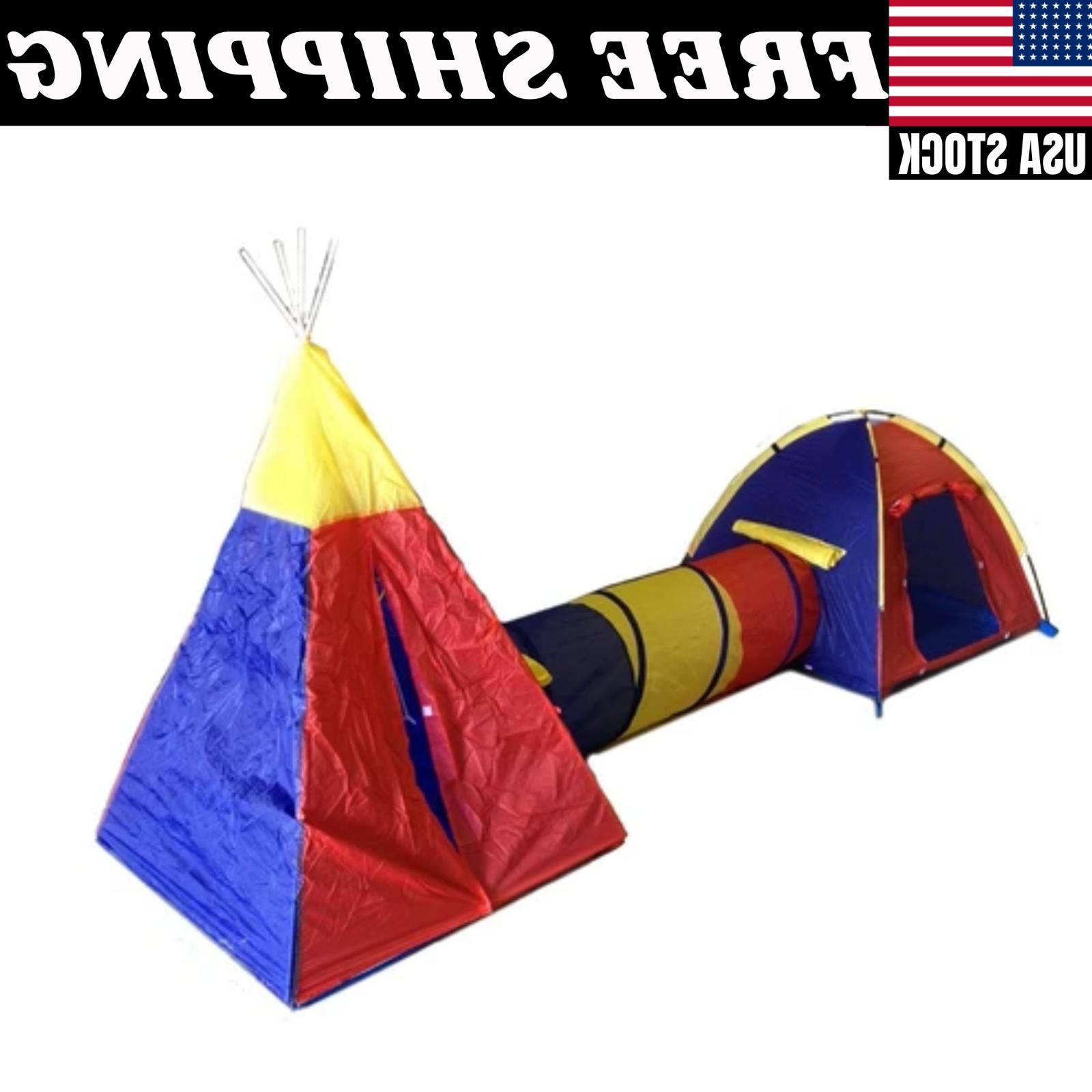 Children's Play Tent Set - 2 Rooms Tunnels Fun Playhouse Cas