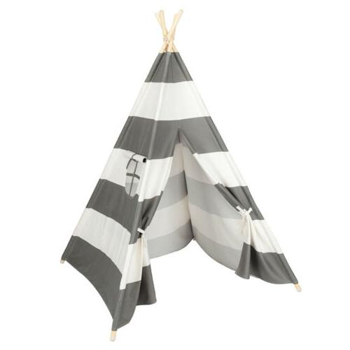 Portable Gray Teepee Tent Kids Playhouse Children Play House