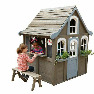 kids outdoor playhouse w play kitchen wooden