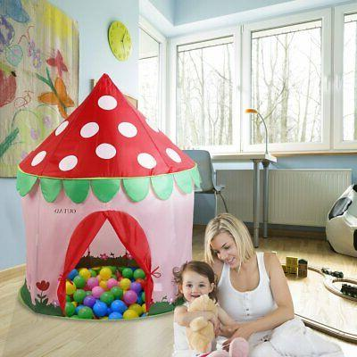 Girls Pink Princess Castle Cute Playhouse Children Kids Play