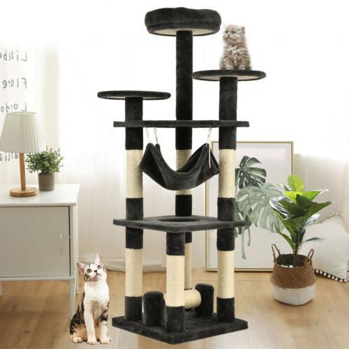 "52"" Cat Tree Condo Climbing Tower Scratching Kitty Play Hous"