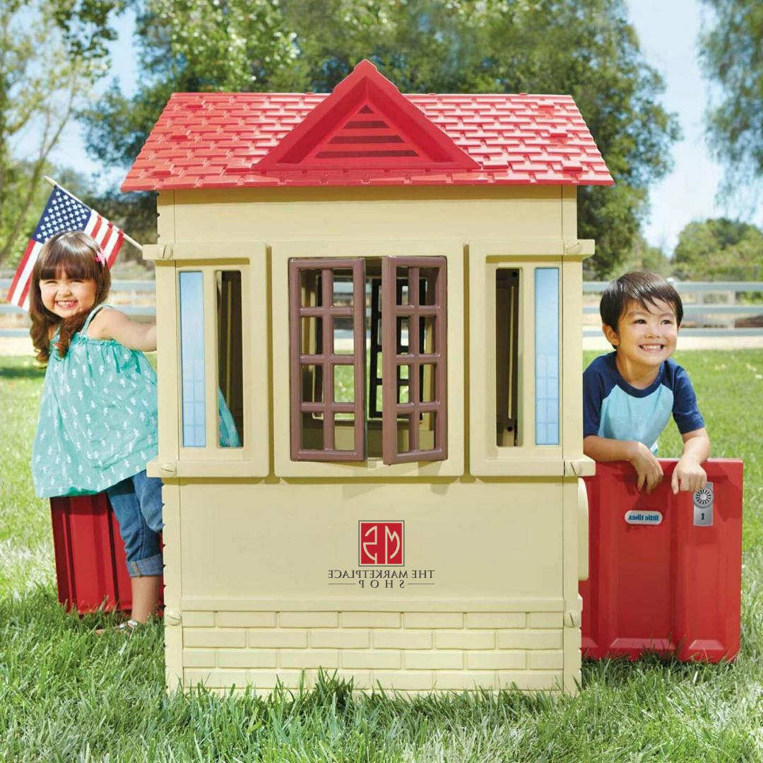 neat and tidy cottage blue playhouse toddlers