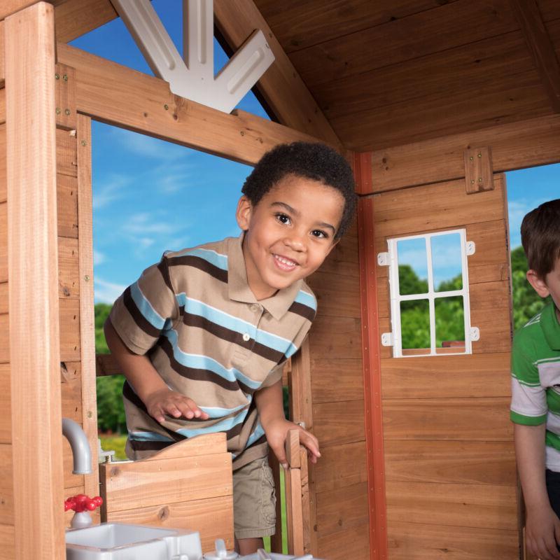 Outdoor Playhouse Cedar Pretend Play Wood Cot