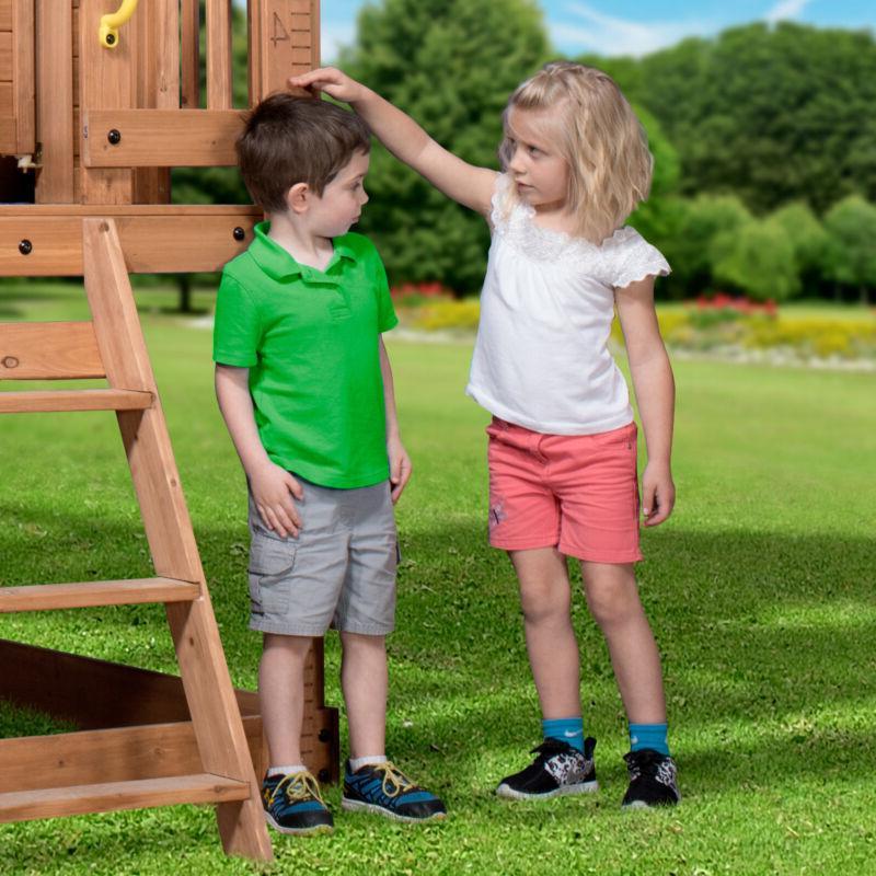 Outdoor Elegant Cedar Pretend Play Kitchen Wood Cot Toy-Boxes