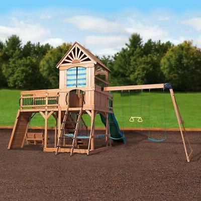 Outdoor Set Slide Playset Stairs Cedar New