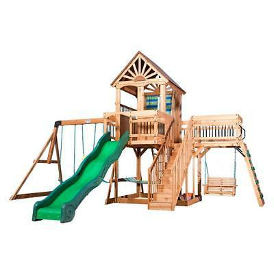 Outdoor Swing Slide Playset Wooden Playhouse Stairs New