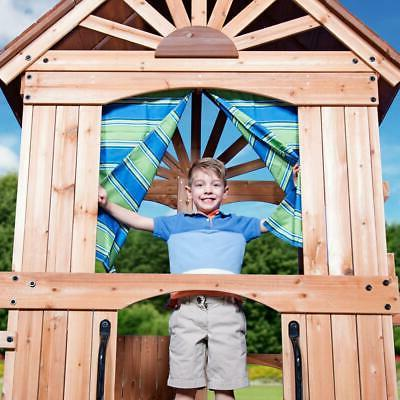 Outdoor Set Swing Toy Slide Wooden Playhouse Stairs All Cedar Play New