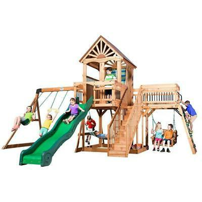 outdoor set swing toy slide playset wooden