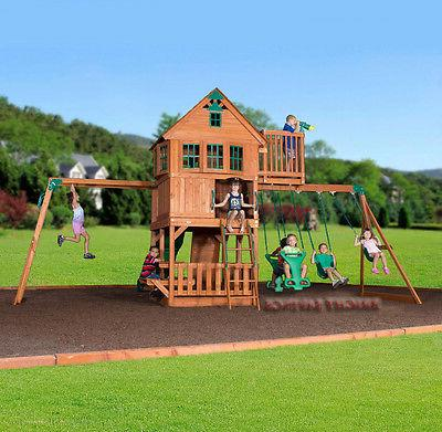 Outdoor Swing Set Toy Playhouse Slide
