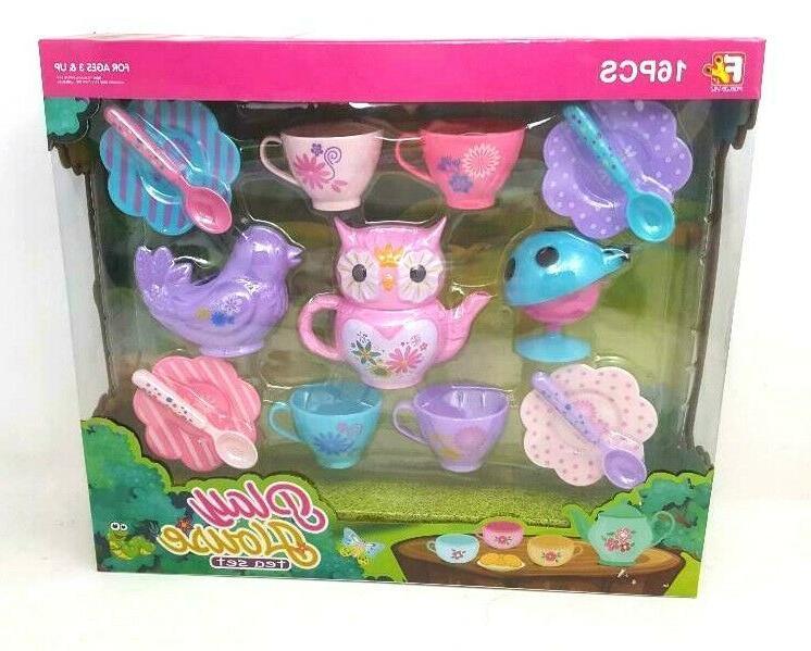 owl tea set 16 pieces multi colored