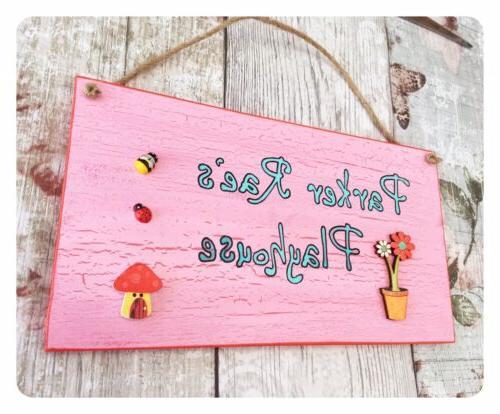 Pink Playhouse Children's Plaque FLOWER