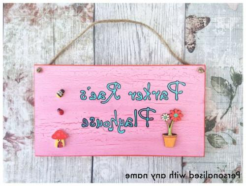pink playhouse sign childrens personalised name outdoor