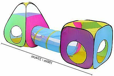 3pc Children Play Tent and Tunnel Toy, Outdoor & Indoor Play