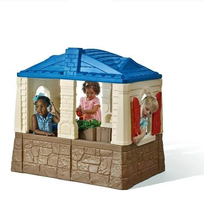 Playhouse Cottage Toddlers Kids Children Play Outdoor Open Blue