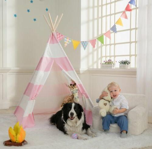 Portable Playhouse Indian Teepee Tent Play Pink