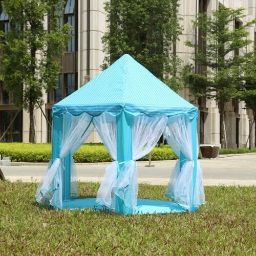 Portable Princess House Blue Kids Play