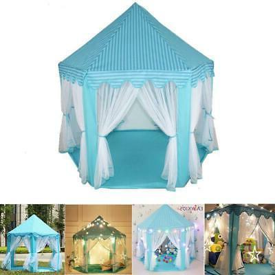 portable princess castle play house blue large