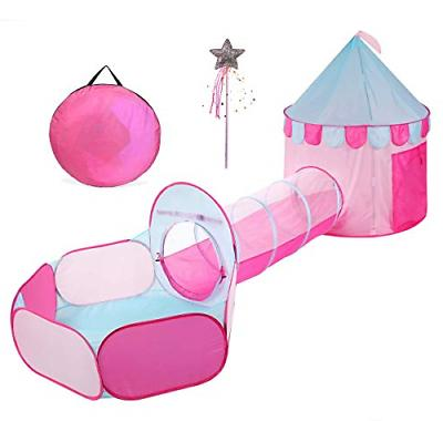 princess castle pink play tent tunnel grils