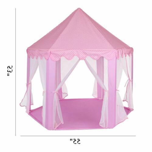 Girls Pink Princess Castle Cute Playhouse Children Kids