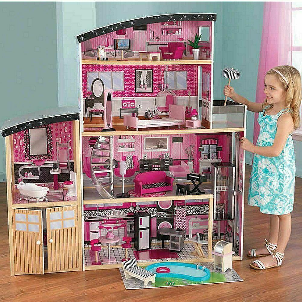 KidKraft Sparkle Mansion Dollhouse, 30 Pieces of Detailed Fu