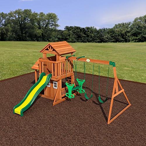 Backyard Discovery Tanglewood All Cedar Wood Playset Swing