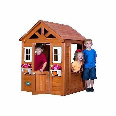 Backyard Discovery Cedar Wood Playhouse Outdoor Play New