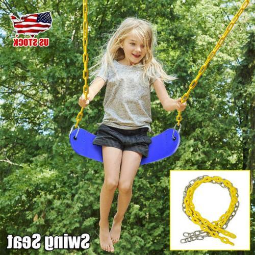 tree blue swing seat children rope kids