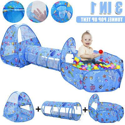 US Childrens Play Tent Portable W/ Crawl Tunnel & Tent