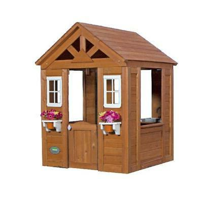 Wooden Play House Discovery Cedar Kids Cottage Outdoor Fun