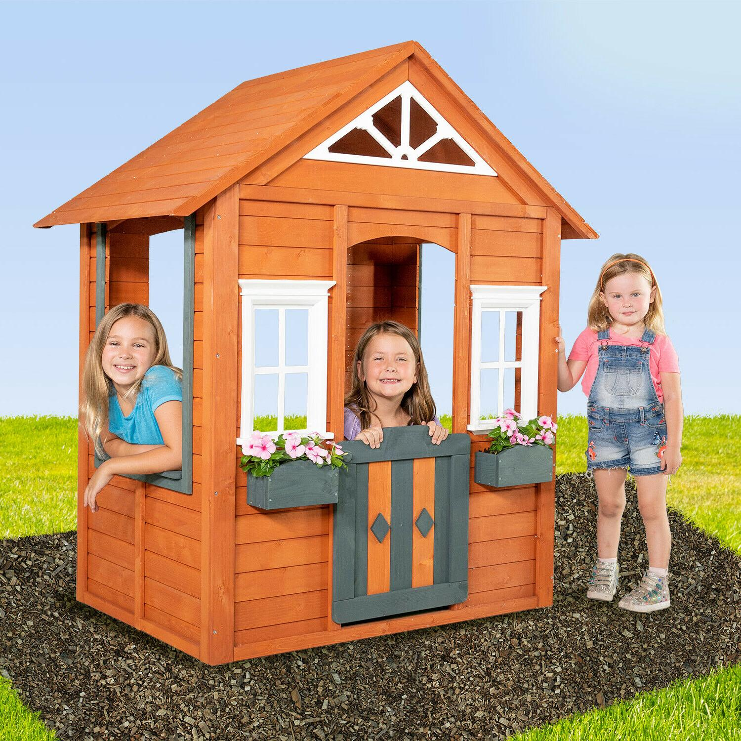 wooden playhouse red outdoor yard boys girls