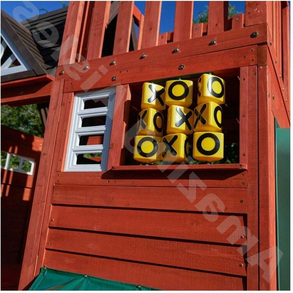 Wooden Playhouse With Slide Rock Climb Wall