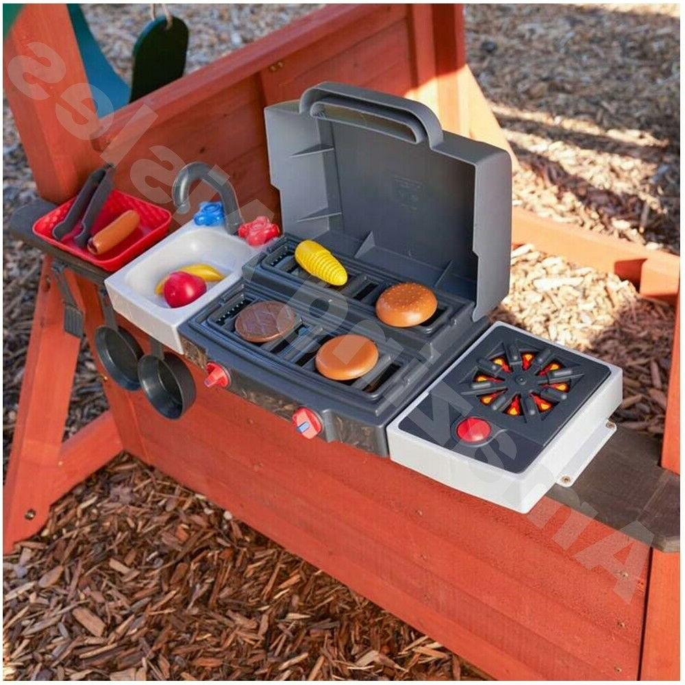Wooden With Slide Rock Climb Wall Playset