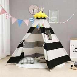 Large Kids Teepee Indoor Play Tent Cotton Canvas Children In
