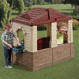 Neat & Tidy Toddlers Cottage II Brown Outdoor Playhouse w/ W