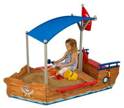 "NEW Pirate Ship Boat Kids Sand Box Play House Outdoor 75""L x"