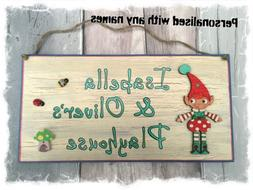 Outdoor Playhouse Sign - Children's PERSONALISED Name Wood