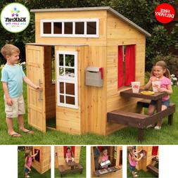 Outdoor Playhouse With Picnic Table & Two Benches Mailbox Ou