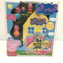 Peppa Pig's Playhouse Set With Mat 4 Rooms 4 Figures Furnitu