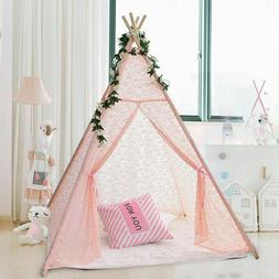 Pink Lace Teepee Tent Kids Girls Wedding Party Decor Indoor