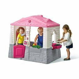 Kids Plastic Playhouse Cottage Pink Children Indoor Outdoor